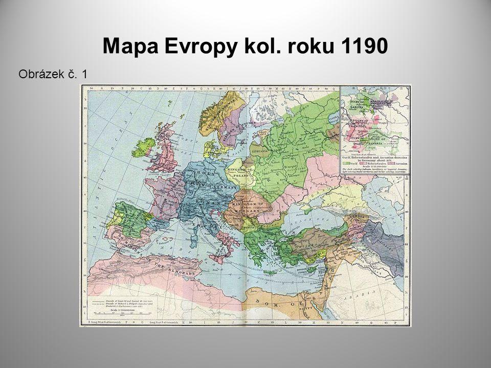 Mapa Evropy kol. roku 1190 Obrázek č. 1