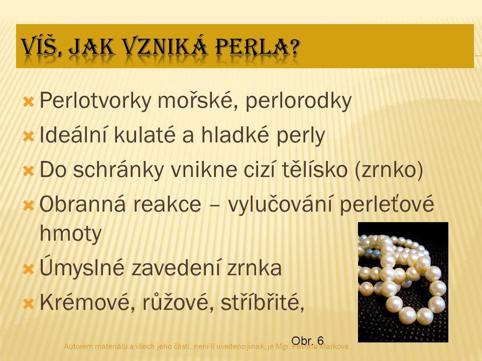  Perlotvorky mořské, perlorodky  Ideální kulaté a hladké perly  Do schránky vnikne cizí tělísko (zrnko)  Obranná reakce – vylučování perleťové hmoty  Úmyslné zavedení zrnka  Krémové, růžové, stříbřité, Obr.