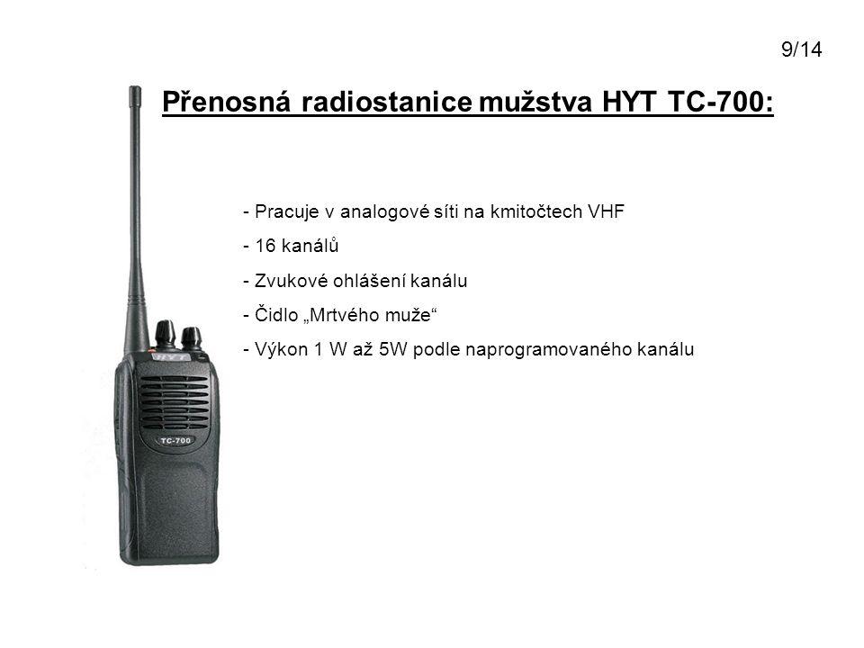 """Přenosná radiostanice mužstva HYT TC-700: - Pracuje v analogové síti na kmitočtech VHF - 16 kanálů - Zvukové ohlášení kanálu - Čidlo """"Mrtvého muže"""" -"""