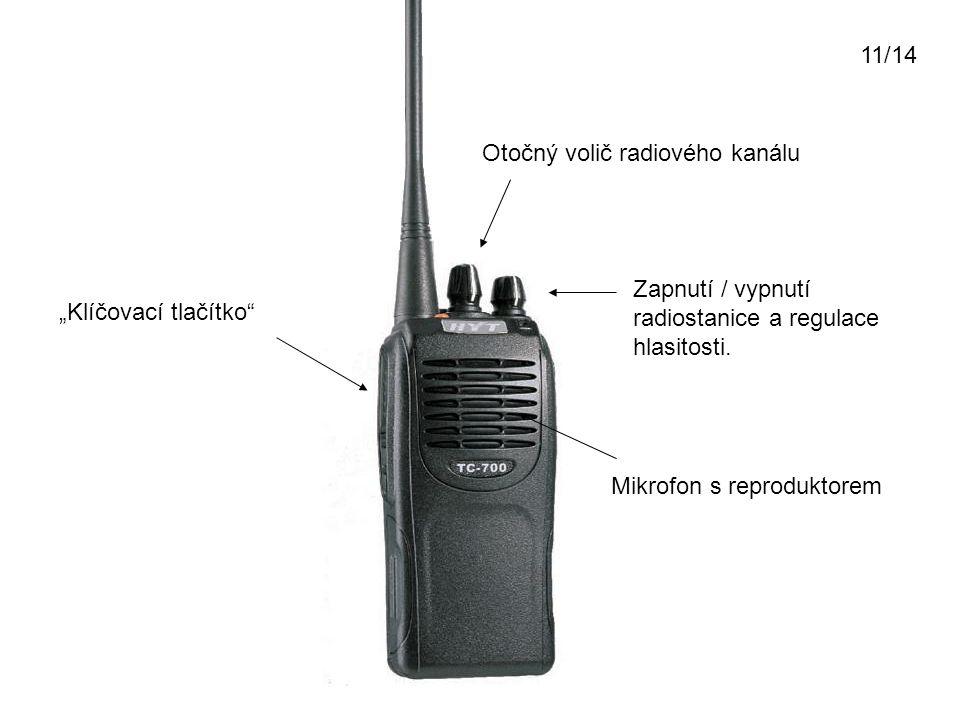 """""""Klíčovací tlačítko"""" Zapnutí / vypnutí radiostanice a regulace hlasitosti. Otočný volič radiového kanálu Mikrofon s reproduktorem 11/14"""