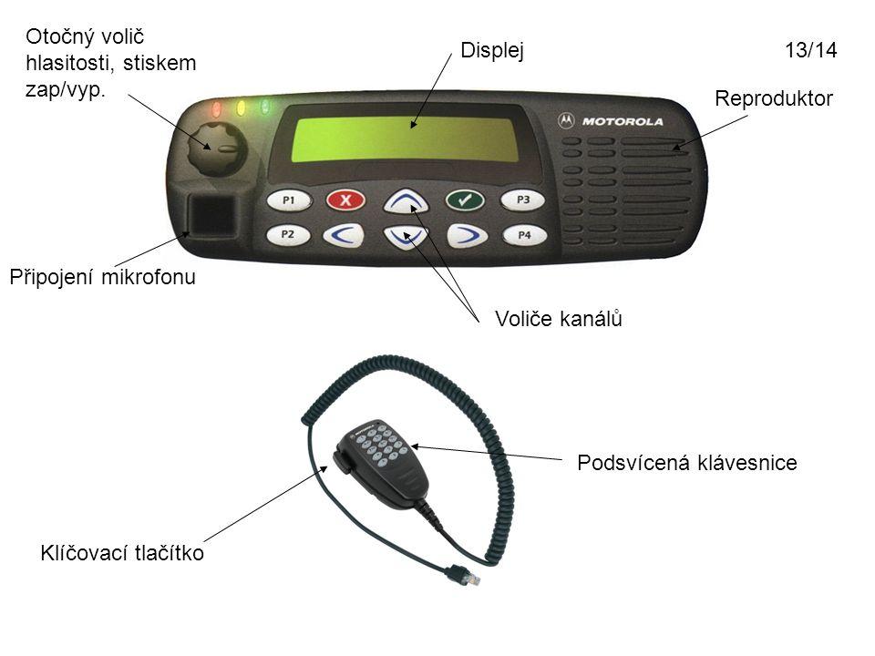Displej Reproduktor Otočný volič hlasitosti, stiskem zap/vyp. Připojení mikrofonu Voliče kanálů Klíčovací tlačítko Podsvícená klávesnice 13/14