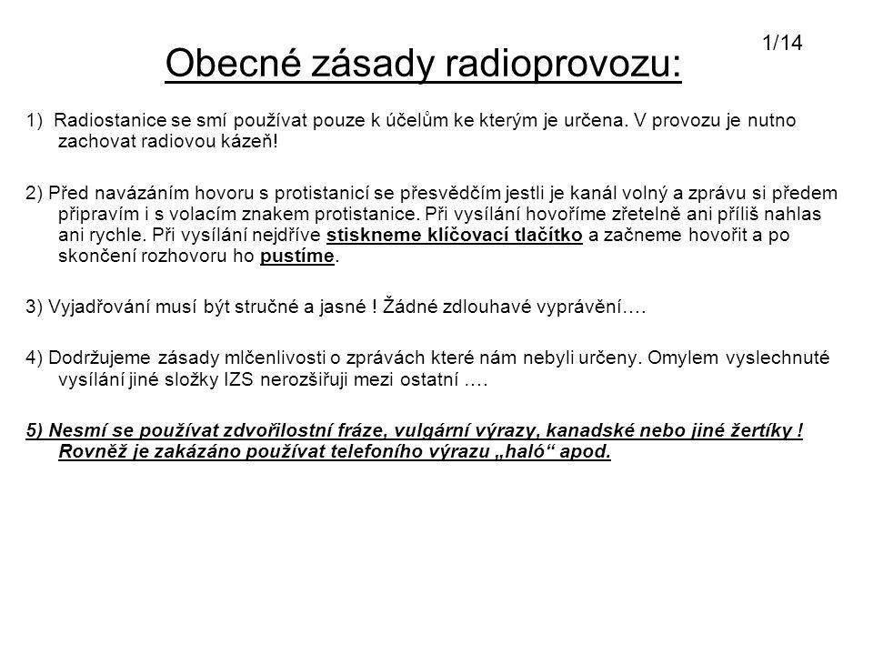 Obecné zásady radioprovozu: 1) Radiostanice se smí používat pouze k účelům ke kterým je určena. V provozu je nutno zachovat radiovou kázeň! 2) Před na