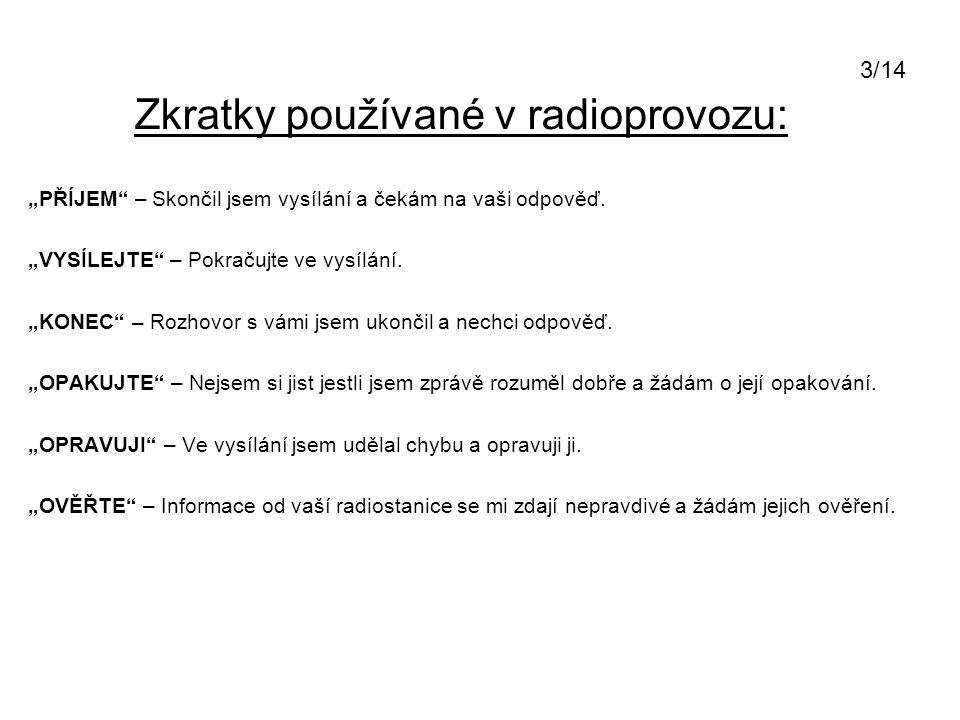 """Zkratky používané v radioprovozu: """"PŘÍJEM"""" – Skončil jsem vysílání a čekám na vaši odpověď. """"VYSÍLEJTE"""" – Pokračujte ve vysílání. """"KONEC"""" – Rozhovor s"""