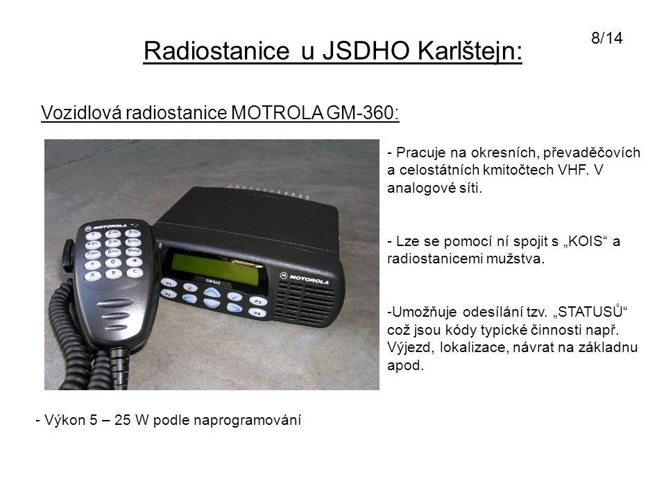 Radiostanice u JSDHO Karlštejn: Vozidlová radiostanice MOTROLA GM-360: - Pracuje na okresních, převaděčovích a celostátních kmitočtech VHF. V analogov