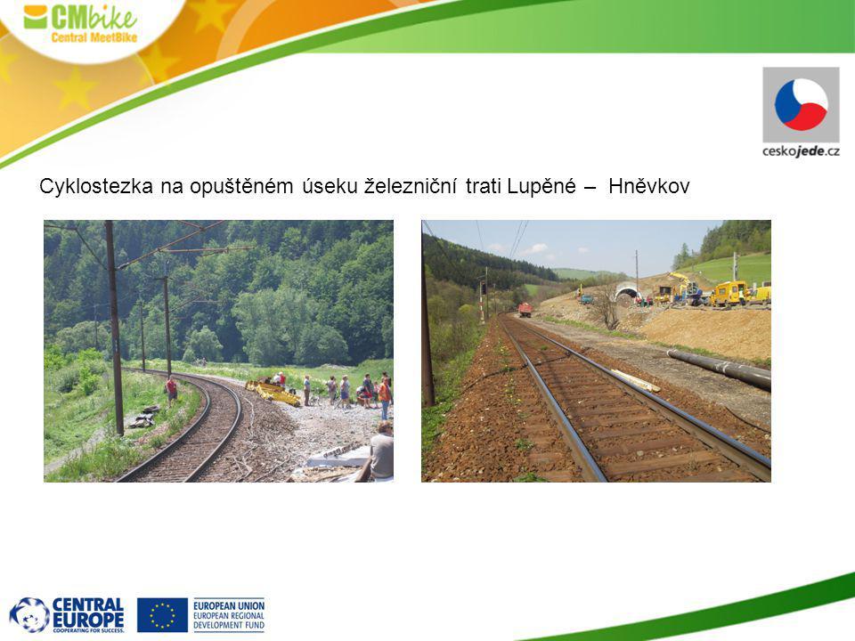 Cyklostezka na opuštěném úseku železniční trati Lupěné – Hněvkov