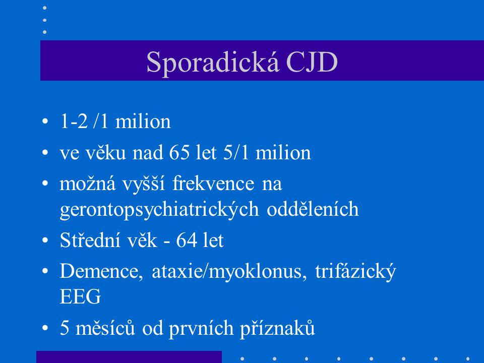 Sporadická CJD 1-2 /1 milion ve věku nad 65 let 5/1 milion možná vyšší frekvence na gerontopsychiatrických odděleních Střední věk - 64 let Demence, at