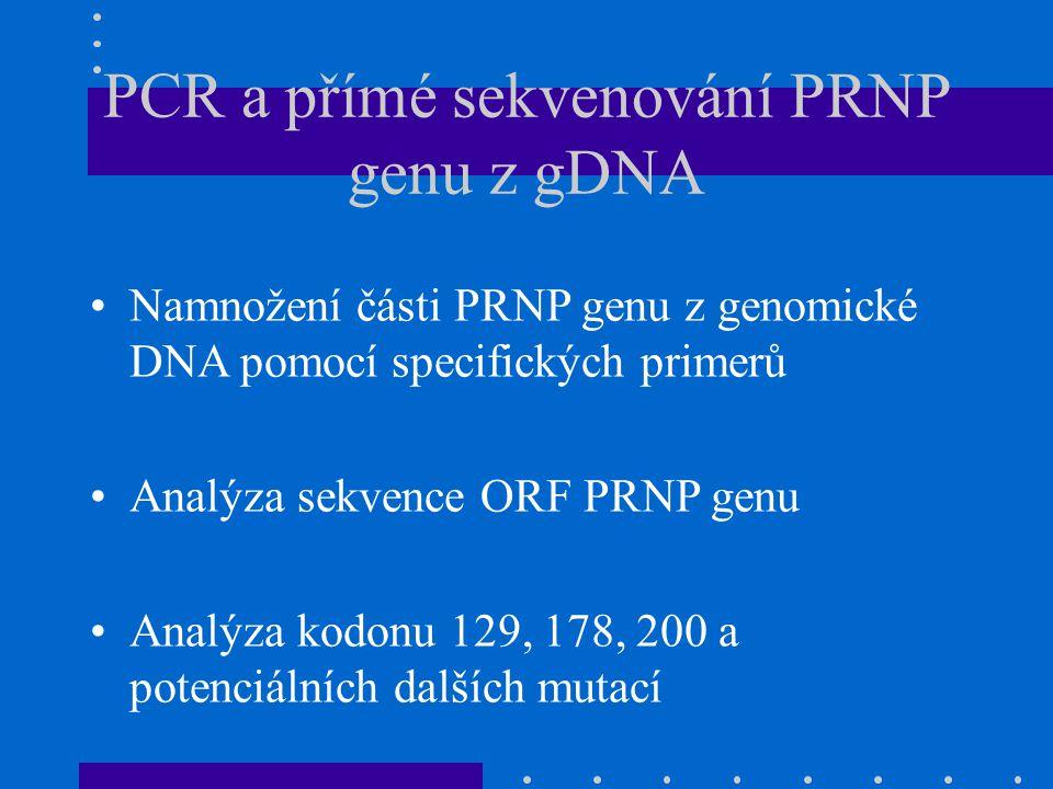PCR a přímé sekvenování PRNP genu z gDNA Namnožení části PRNP genu z genomické DNA pomocí specifických primerů Analýza sekvence ORF PRNP genu Analýza kodonu 129, 178, 200 a potenciálních dalších mutací