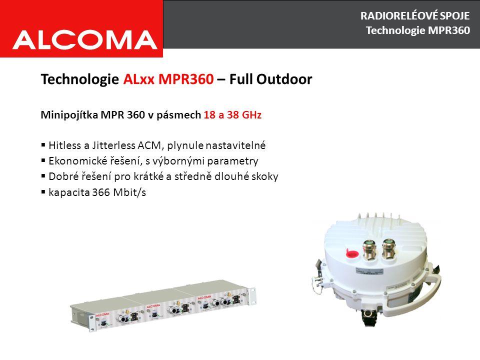 RADIORELÉOVÉ SPOJE Výhody x Nevýhody Technologie ALxx MPR360 – Full Outdoor Minipojítka MPR 360 v pásmech 18 a 38 GHz  Hitless a Jitterless ACM, plyn