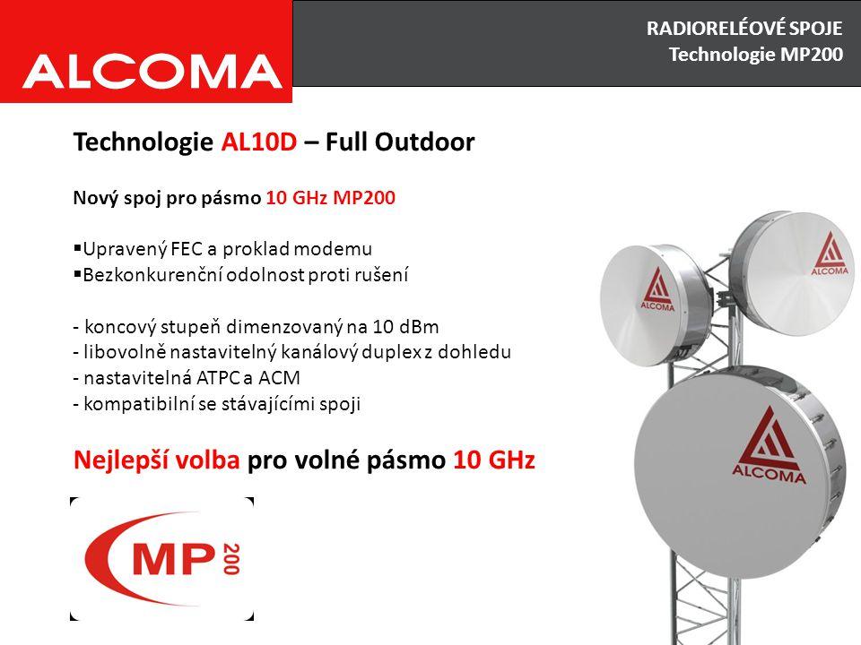 RADIORELÉOVÉ SPOJE Výhody x Nevýhody Technologie AL10D – Full Outdoor Nový spoj pro pásmo 10 GHz MP200  Upravený FEC a proklad modemu  Bezkonkurenčn