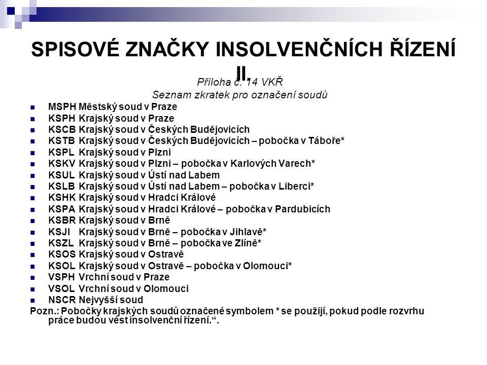 SPISOVÉ ZNAČKY INSOLVENČNÍCH ŘÍZENÍ II.Příloha č.