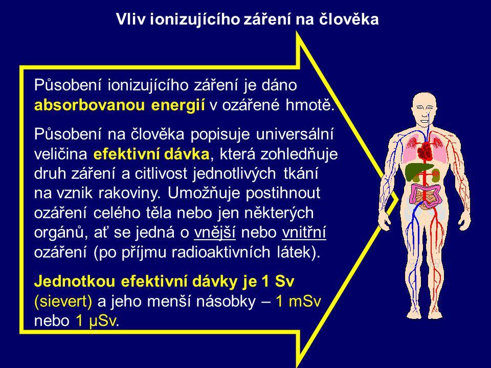 Vliv ionizujícího záření na člověka Působení ionizujícího záření je dáno absorbovanou energií v ozářené hmotě.