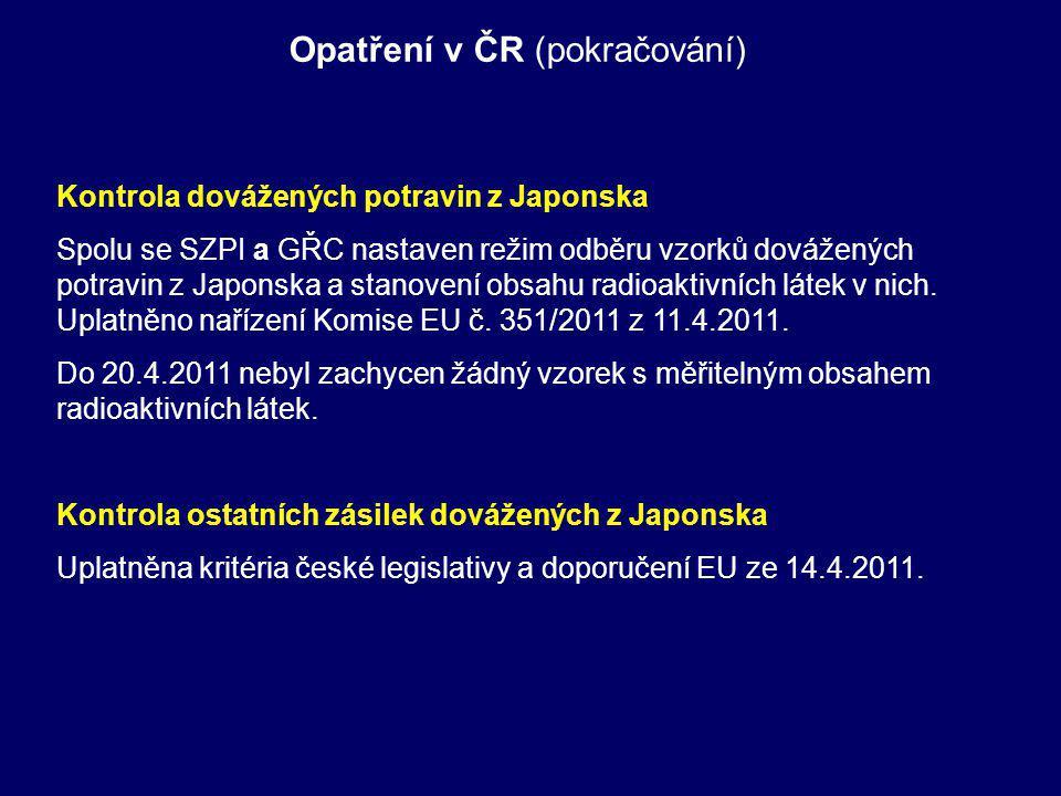Opatření v ČR (pokračování) Kontrola dovážených potravin z Japonska Spolu se SZPI a GŘC nastaven režim odběru vzorků dovážených potravin z Japonska a stanovení obsahu radioaktivních látek v nich.