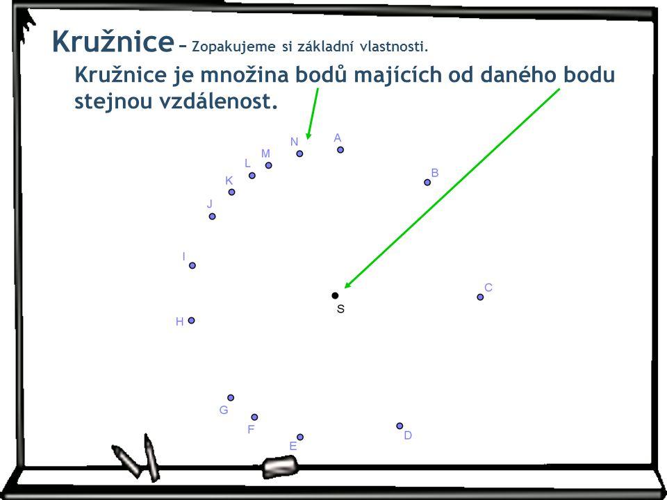 Kružnice − Zopakujeme si základní vlastnosti. Kružnice je množina bodů majících od daného bodu stejnou vzdálenost.