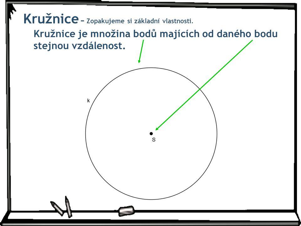 Kružnice je množina bodů majících od daného bodu stejnou vzdálenost. Kružnice − Zopakujeme si základní vlastnosti.