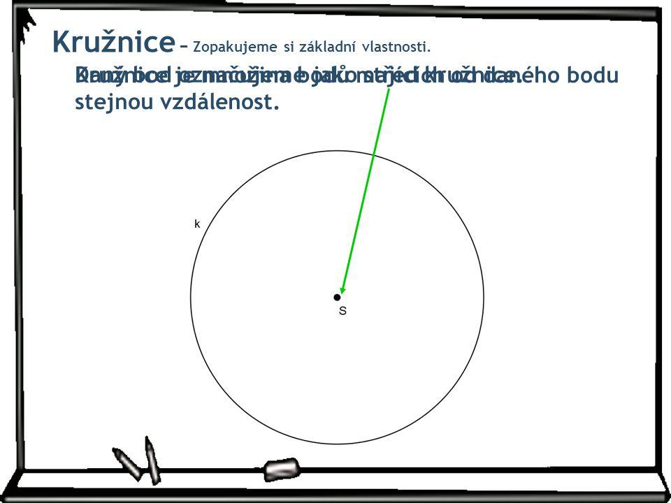 Kružnice je množina bodů majících od daného bodu stejnou vzdálenost. Daný bod označujeme jako střed kružnice. Kružnice − Zopakujeme si základní vlastn