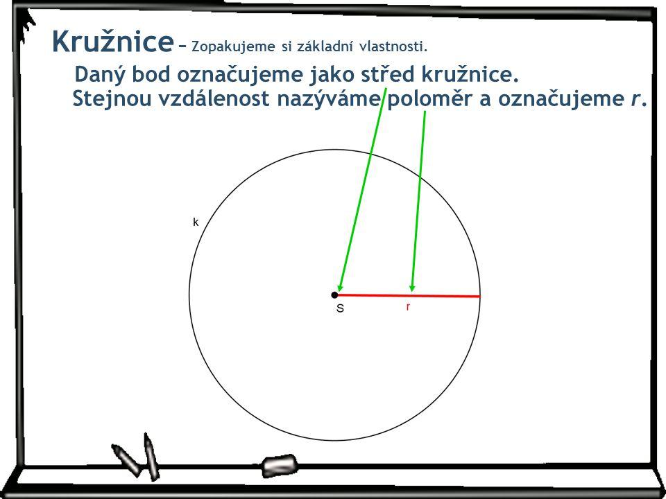 Daný bod označujeme jako střed kružnice. Stejnou vzdálenost nazýváme poloměr a označujeme r. Kružnice − Zopakujeme si základní vlastnosti.