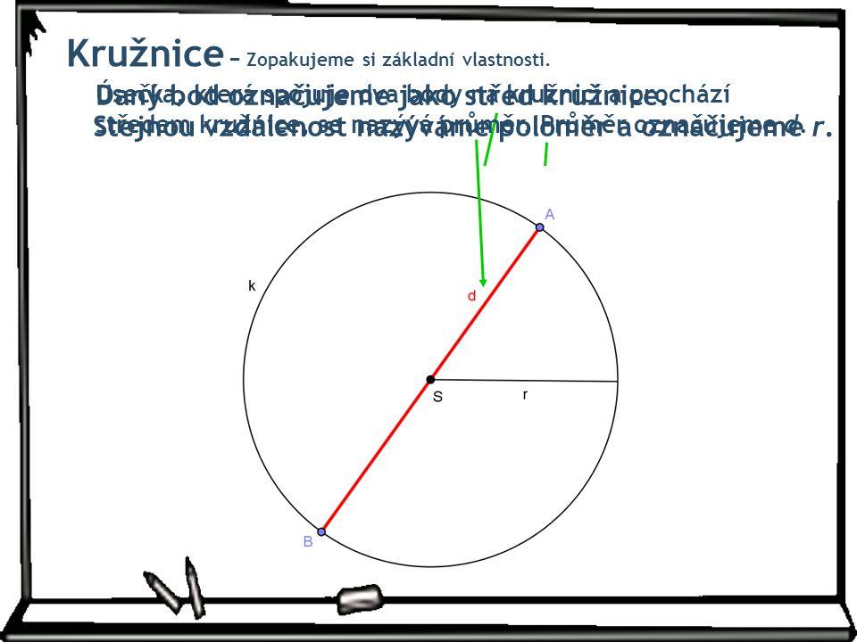 Daný bod označujeme jako střed kružnice. Stejnou vzdálenost nazýváme poloměr a označujeme r. Úsečka, která spojuje dva body na kružnici a prochází stř