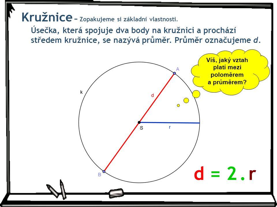 Úsečka, která spojuje dva body na kružnici a prochází středem kružnice, se nazývá průměr. Průměr označujeme d. Víš, jaký vztah platí mezi poloměrem a