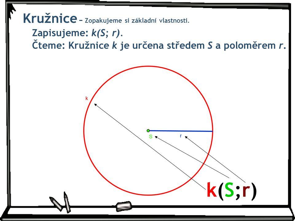 Zapisujeme: k(S; r). Čteme: Kružnice k je určena středem S a poloměrem r. k(S;r)k(S;r) Kružnice − Zopakujeme si základní vlastnosti.