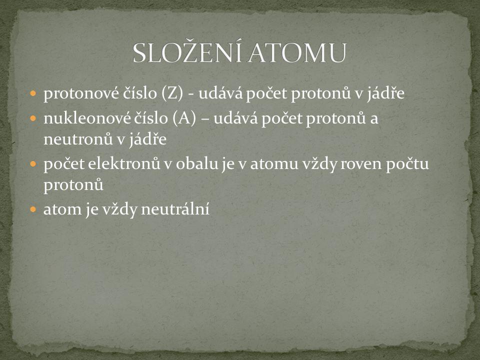 protonové číslo (Z) - udává počet protonů v jádře nukleonové číslo (A) – udává počet protonů a neutronů v jádře počet elektronů v obalu je v atomu vžd