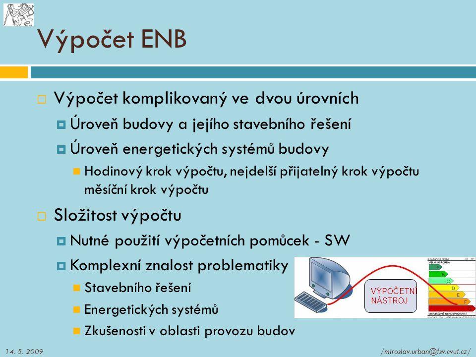Výpočet ENB  Výpočet komplikovaný ve dvou úrovních  Úroveň budovy a jejího stavebního řešení  Úroveň energetických systémů budovy Hodinový krok výp