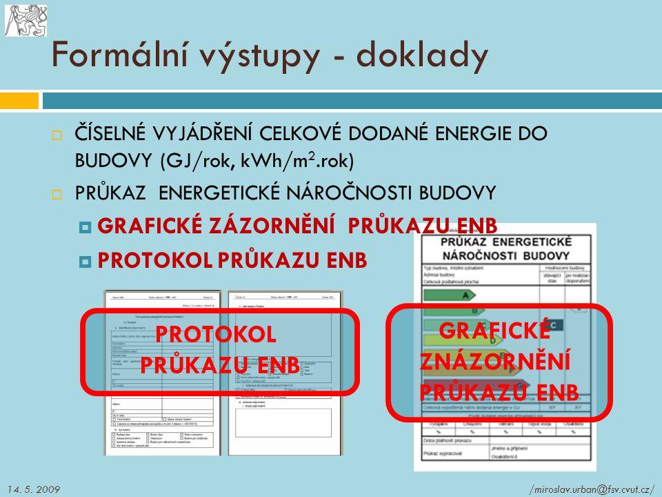 Formální výstupy - doklady  ČÍSELNÉ VYJÁDŘENÍ CELKOVÉ DODANÉ ENERGIE DO BUDOVY (GJ/rok, kWh/m 2.rok)  PRŮKAZ ENERGETICKÉ NÁROČNOSTI BUDOVY  GRAFICK