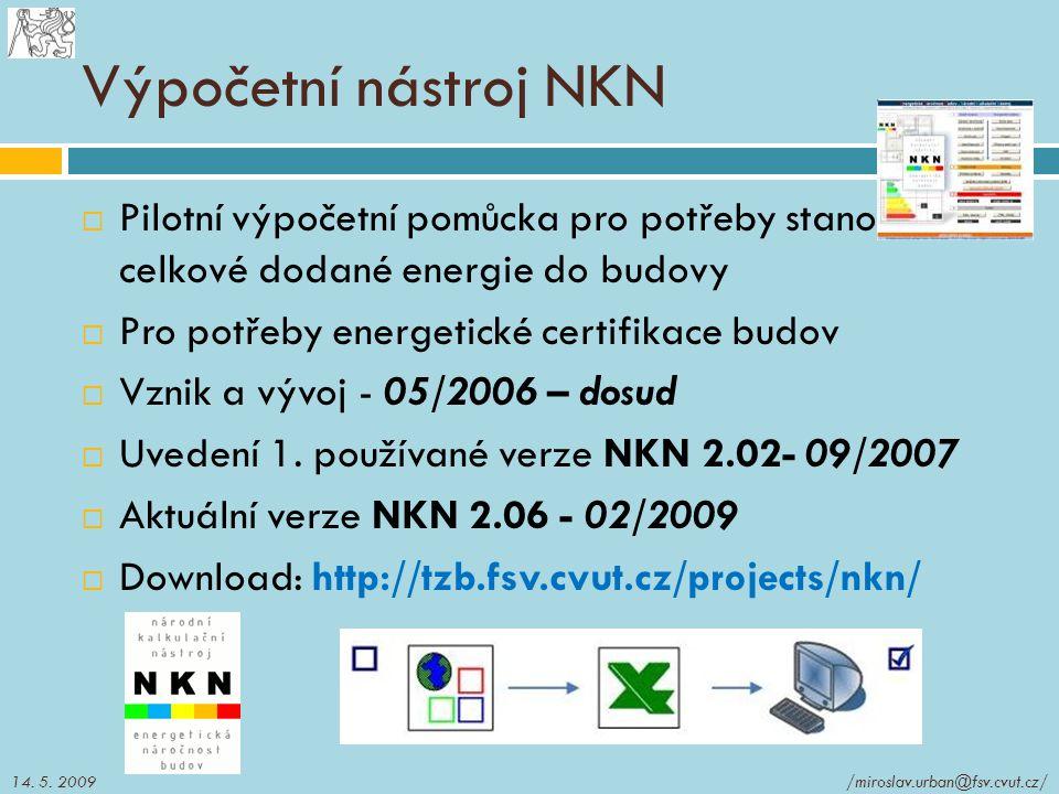 Výpočetní nástroj NKN  Pilotní výpočetní pomůcka pro potřeby stanovení celkové dodané energie do budovy  Pro potřeby energetické certifikace budov 