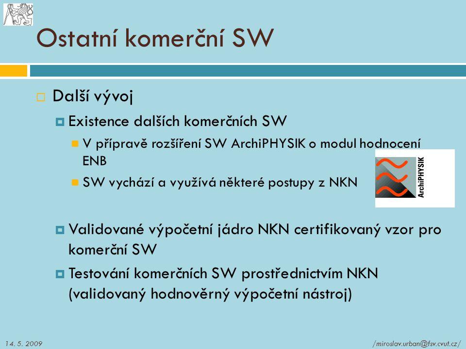 Ostatní komerční SW  Další vývoj  Existence dalších komerčních SW V přípravě rozšíření SW ArchiPHYSIK o modul hodnocení ENB SW vychází a využívá něk