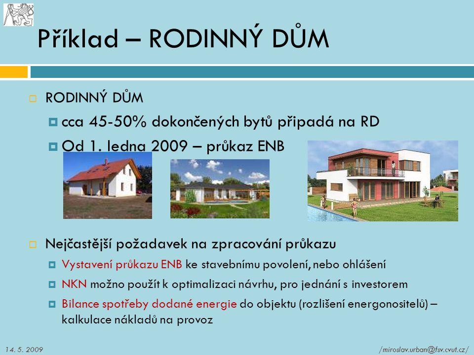 Příklad – RODINNÝ DŮM  RODINNÝ DŮM  cca 45-50% dokončených bytů připadá na RD  Od 1. ledna 2009 – průkaz ENB  Nejčastější požadavek na zpracování