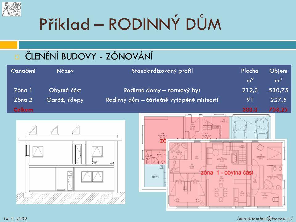 Příklad – RODINNÝ DŮM  ČLENĚNÍ BUDOVY - ZÓNOVÁNÍ OznačeníNázevStandardizovaný profilPlochaObjem m2m2 m3m3 Zóna 1Obytná částRodinné domy – normový byt