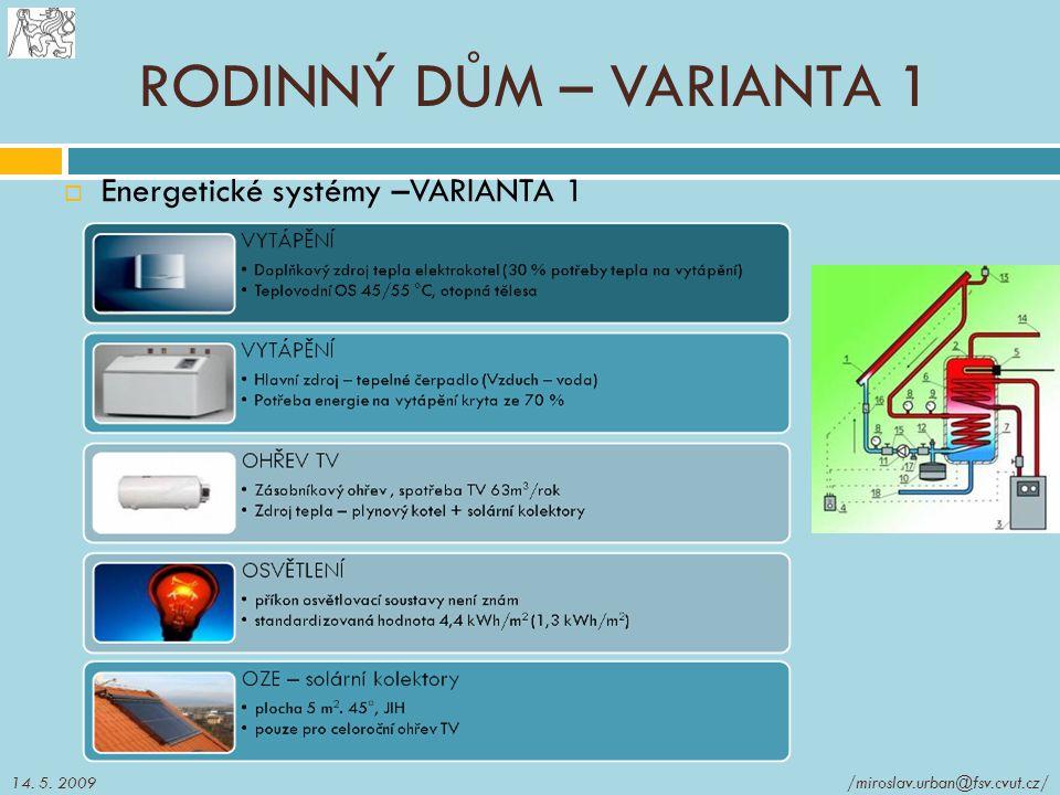  Energetické systémy –VARIANTA 1 RODINNÝ DŮM – VARIANTA 1 14. 5. 2009/miroslav.urban@fsv.cvut.cz/