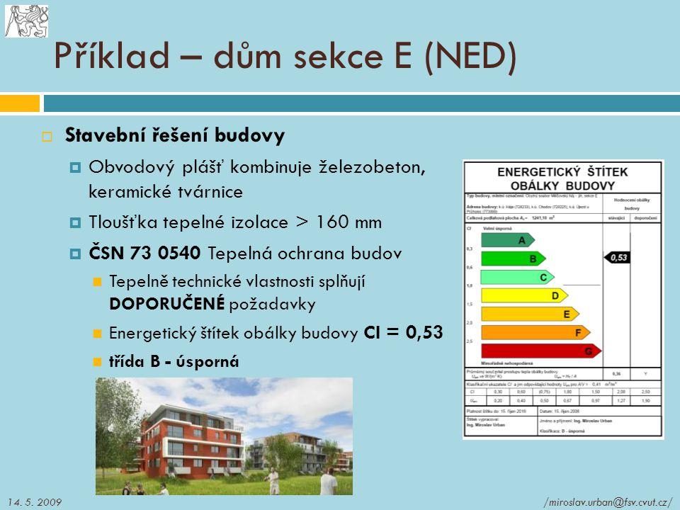Příklad – dům sekce E (NED)  Stavební řešení budovy  Obvodový plášť kombinuje železobeton, keramické tvárnice  Tloušťka tepelné izolace > 160 mm 
