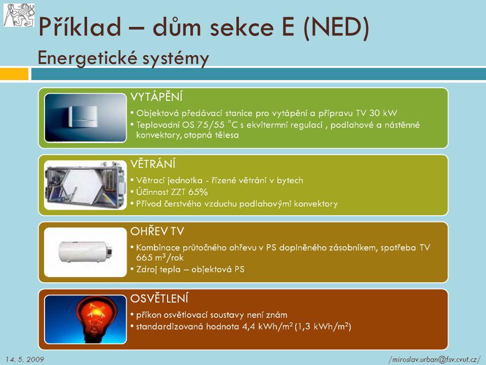 Příklad – dům sekce E (NED) Energetické systémy  Energetické systémy objektu /miroslav.urban@fsv.cvut.cz/14. 5. 2009