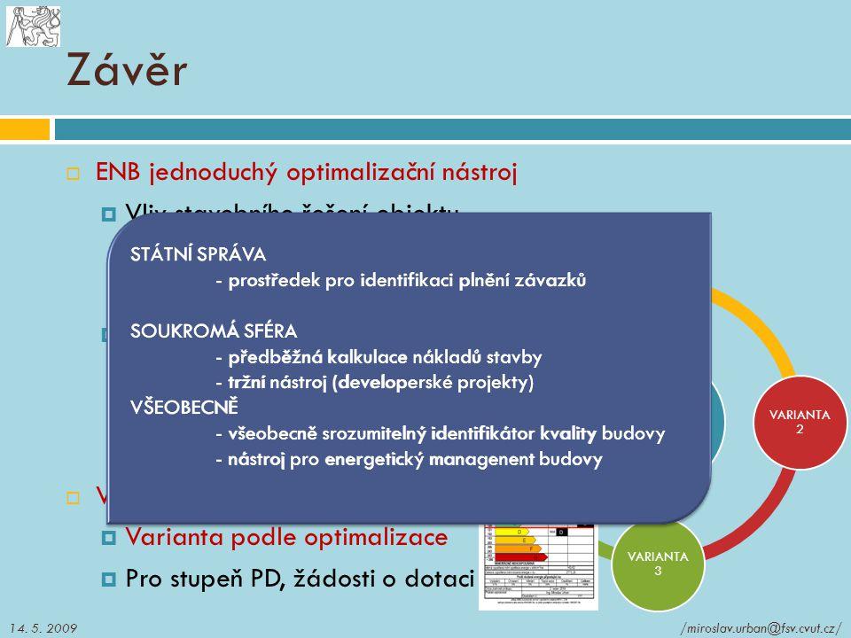 BUDOVA VARIANTA 1 VARIANTA 2 VARIANTA 3 VARIANTA 4 Závěr  ENB jednoduchý optimalizační nástroj  Vliv stavebního řešení objektu Dispoziční řešení bud