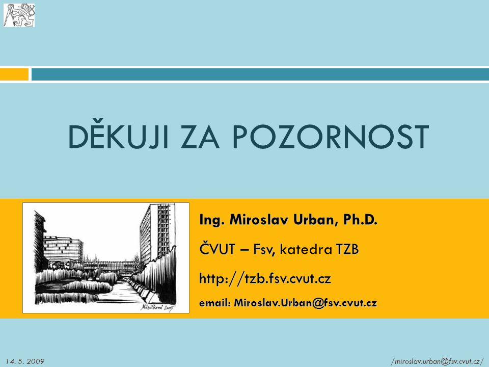 DĚKUJI ZA POZORNOST Ing. Miroslav Urban, Ph.D. ČVUT – Fsv, TZB ČVUT – Fsv, katedra TZBhttp://tzb.fsv.cvut.cz email: Miroslav.Urban@fsv.cvut.cz /mirosl