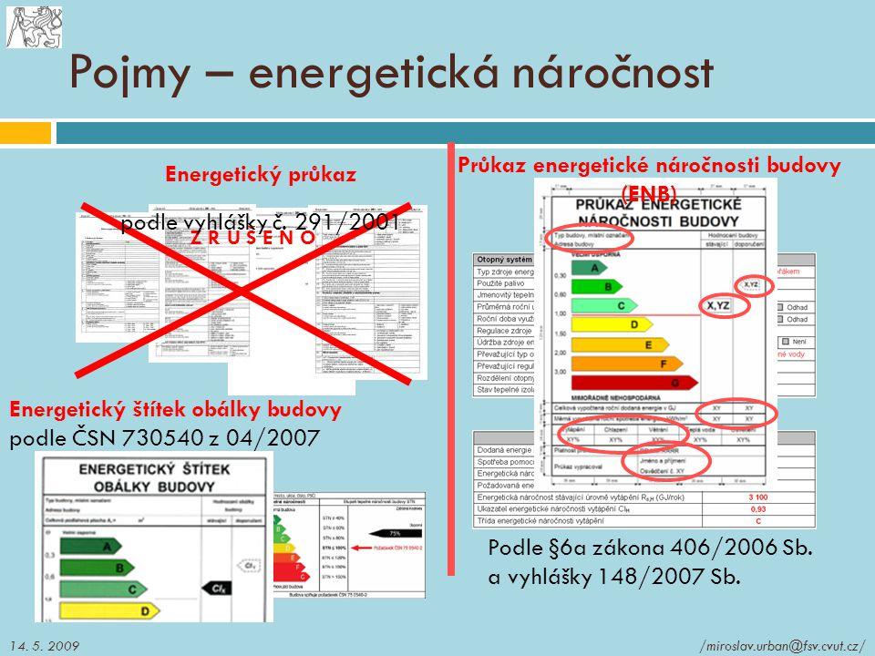 Pojmy – energetická náročnost Energetický štítek obálky budovy podle ČSN 730540 z 04/2007 Průkaz energetické náročnosti budovy (ENB) Podle §6a zákona