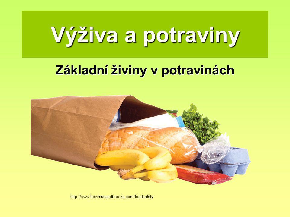 Výživa a potraviny Základní živiny v potravinách http://www.bowmanandbrooke.com/foodsafety
