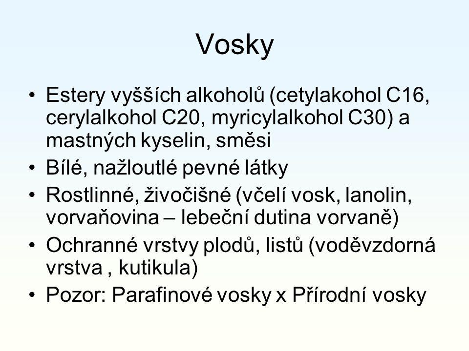 Vosky Estery vyšších alkoholů (cetylakohol C16, cerylalkohol C20, myricylalkohol C30) a mastných kyselin, směsi Bílé, nažloutlé pevné látky Rostlinné,