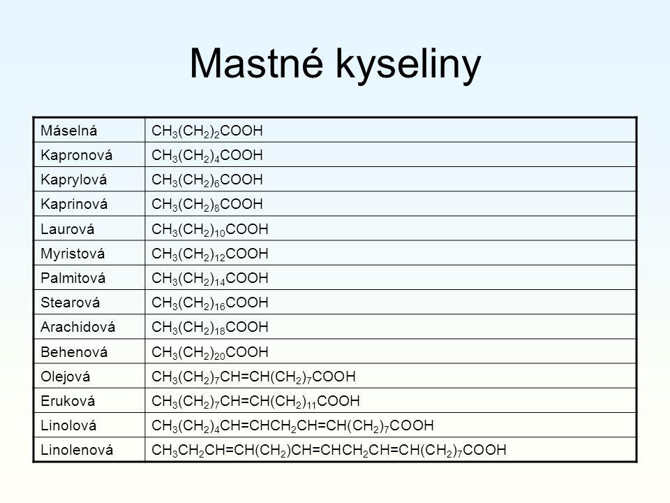 Mastné kyseliny MáselnáCH 3 (CH 2 ) 2 COOH KapronováCH 3 (CH 2 ) 4 COOH KaprylováCH 3 (CH 2 ) 6 COOH KaprinováCH 3 (CH 2 ) 8 COOH LaurováCH 3 (CH 2 )