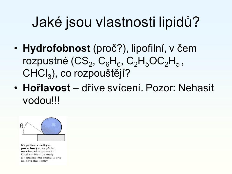 Jaké jsou vlastnosti lipidů? Hydrofobnost (proč?), lipofilní, v čem rozpustné (CS 2, C 6 H 6, C 2 H 5 OC 2 H 5, CHCl 3 ), co rozpouštějí? Hořlavost –