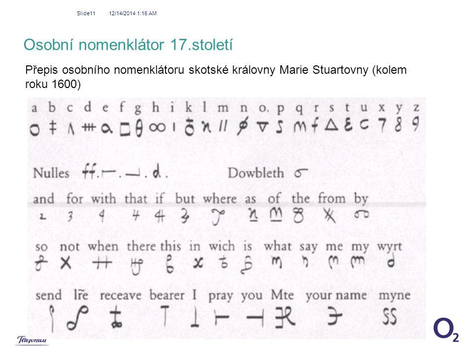 12/14/2014 1:18 AM Slide11 Osobní nomenklátor 17.století Přepis osobního nomenklátoru skotské královny Marie Stuartovny (kolem roku 1600)