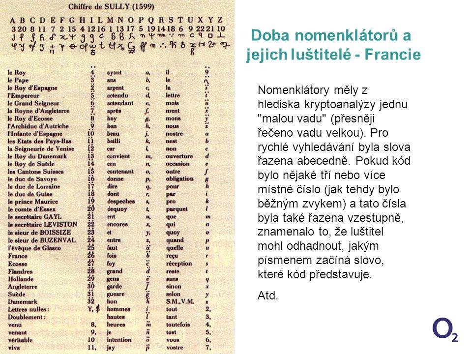 12/14/2014 1:18 AM Slide22 Doba nomenklátorů a jejich luštitelé - Francie Nomenklátory měly z hlediska kryptoanalýzy jednu