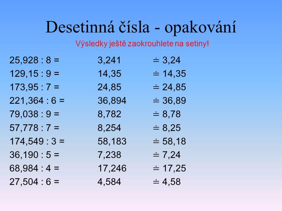 Desetinná čísla - opakování 25,928 : 8 = 129,15 : 9 = 173,95 : 7 = 221,364 : 6 = 79,038 : 9 = 57,778 : 7 = 174,549 : 3 = 36,190 : 5 = 68,984 : 4 = 27,504 : 6 = 3,241 14,35 24,85 36,894 8,782 8,254 58,183 7,238 17,246 4,584 Výsledky ještě zaokrouhlete na setiny.