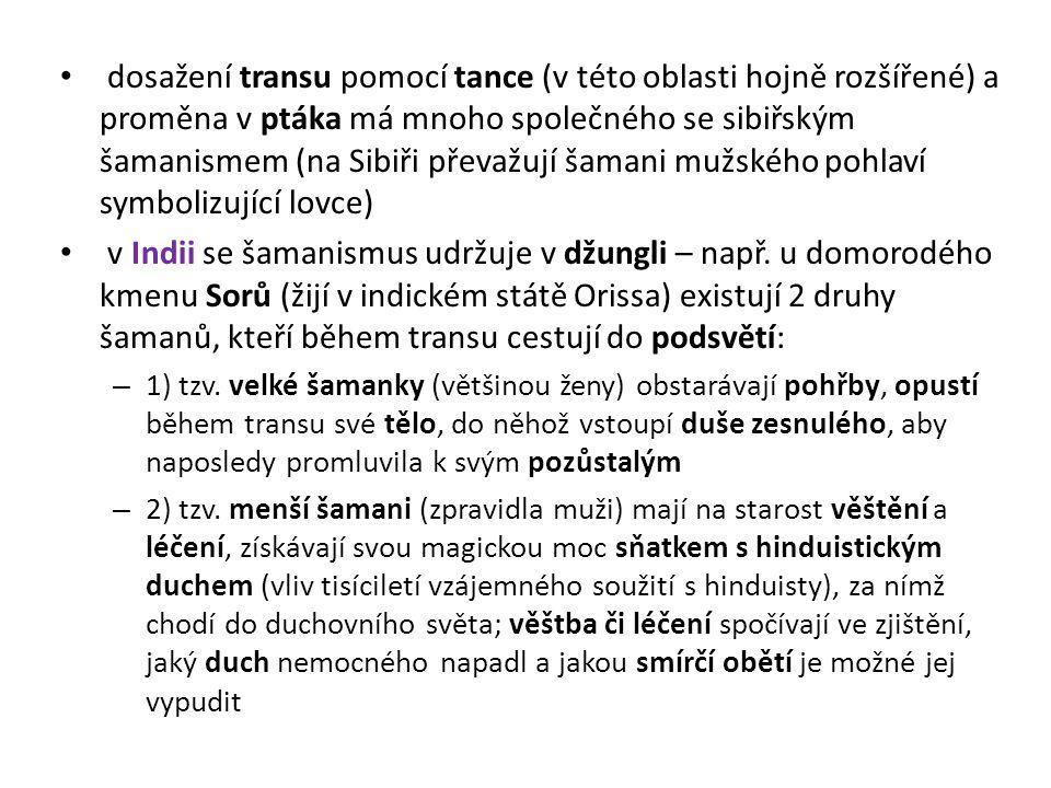 dosažení transu pomocí tance (v této oblasti hojně rozšířené) a proměna v ptáka má mnoho společného se sibiřským šamanismem (na Sibiři převažují šaman
