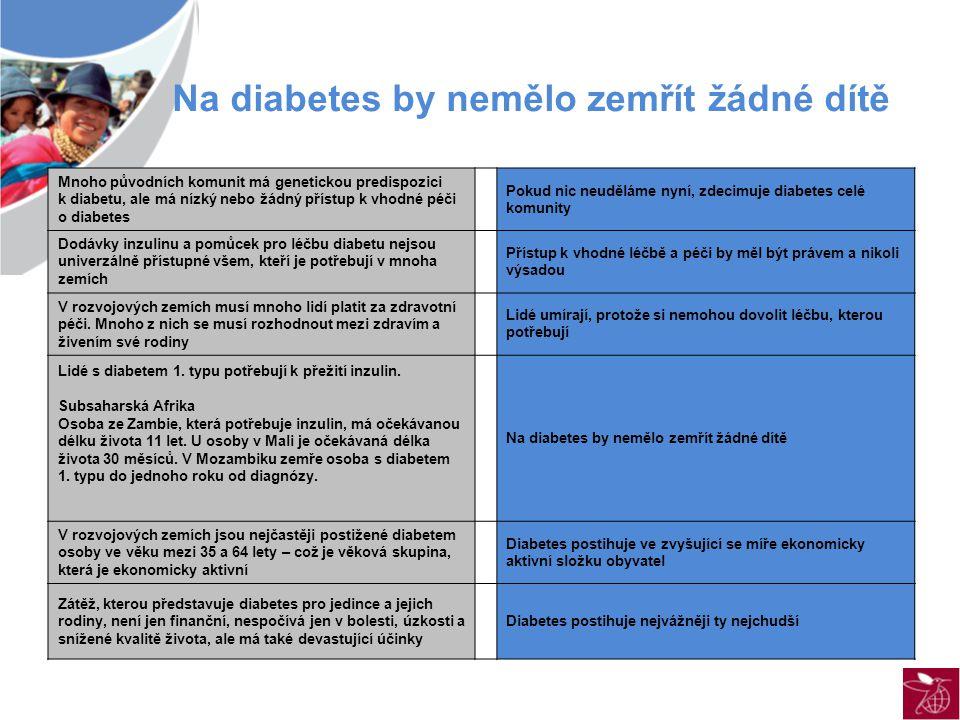 Mnoho původních komunit má genetickou predispozici k diabetu, ale má nízký nebo žádný přístup k vhodné péči o diabetes Pokud nic neuděláme nyní, zdecimuje diabetes celé komunity Dodávky inzulinu a pomůcek pro léčbu diabetu nejsou univerzálně přístupné všem, kteří je potřebují v mnoha zemích Přístup k vhodné léčbě a péči by měl být právem a nikoli výsadou V rozvojových zemích musí mnoho lidí platit za zdravotní péči.