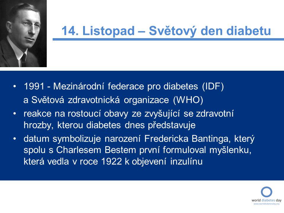 1991 - Mezinárodní federace pro diabetes (IDF) a Světová zdravotnická organizace (WHO) reakce na rostoucí obavy ze zvyšující se zdravotní hrozby, kterou diabetes dnes představuje datum symbolizuje narození Fredericka Bantinga, který spolu s Charlesem Bestem první formuloval myšlenku, která vedla v roce 1922 k objevení inzulínu 14.
