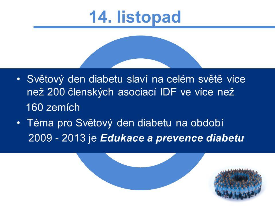 14. listopad Světový den diabetu slaví na celém světě více než 200 členských asociací IDF ve více než 160 zemích Téma pro Světový den diabetu na obdob