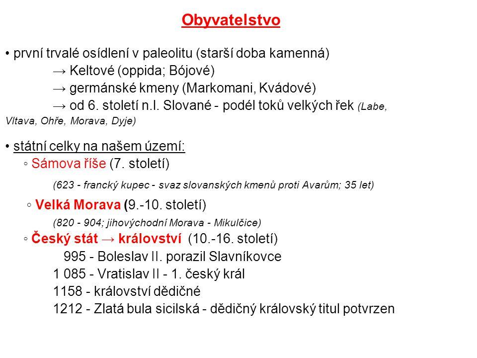 Obyvatelstvo první trvalé osídlení v paleolitu (starší doba kamenná) → Keltové (oppida; Bójové) → germánské kmeny (Markomani, Kvádové) → od 6. století