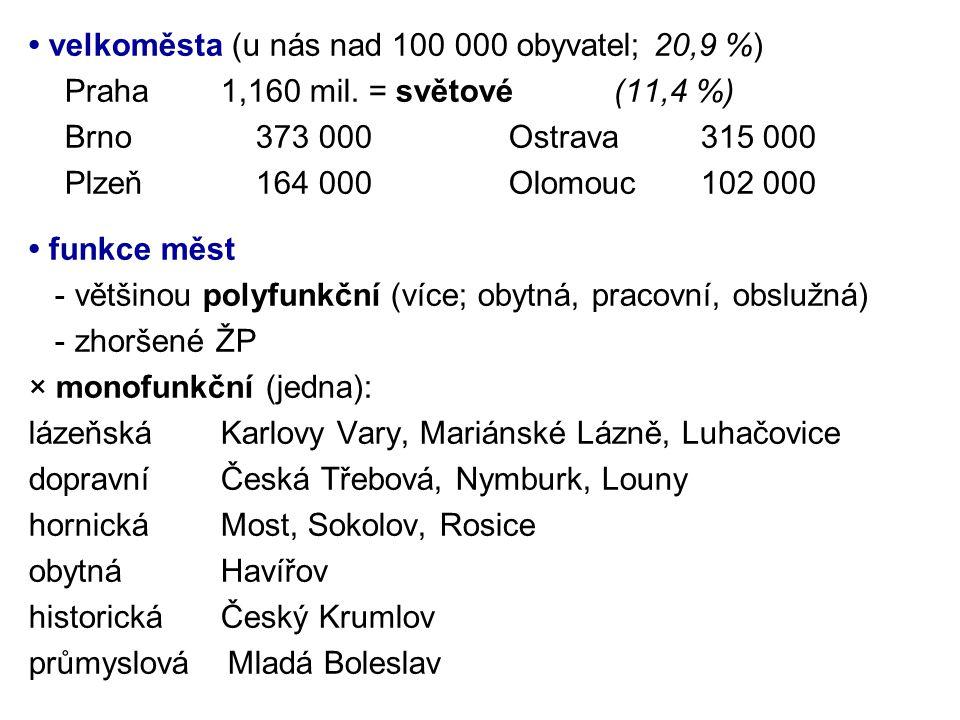 velkoměsta (u nás nad 100 000 obyvatel; 20,9 %) Praha 1,160 mil. = světové (11,4 %) Brno 373 000Ostrava315 000 Plzeň 164 000Olomouc102 000 funkce měst