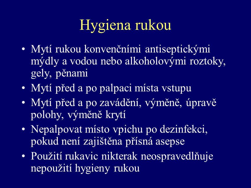Hygiena rukou Mytí rukou konvenčními antiseptickými mýdly a vodou nebo alkoholovými roztoky, gely, pěnami Mytí před a po palpaci místa vstupu Mytí pře